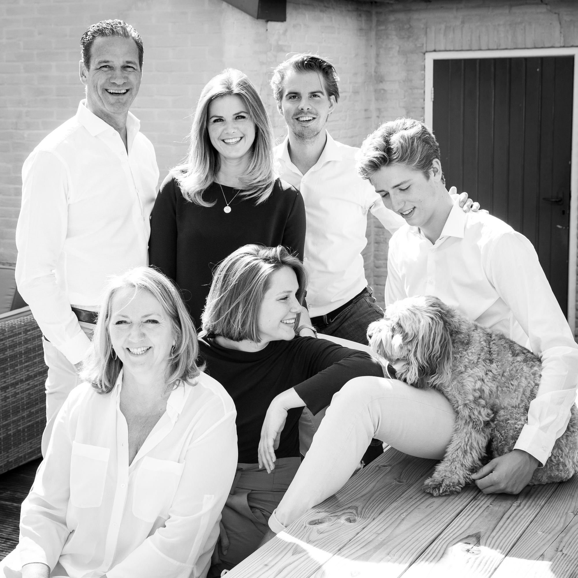 zwart wit familie portret