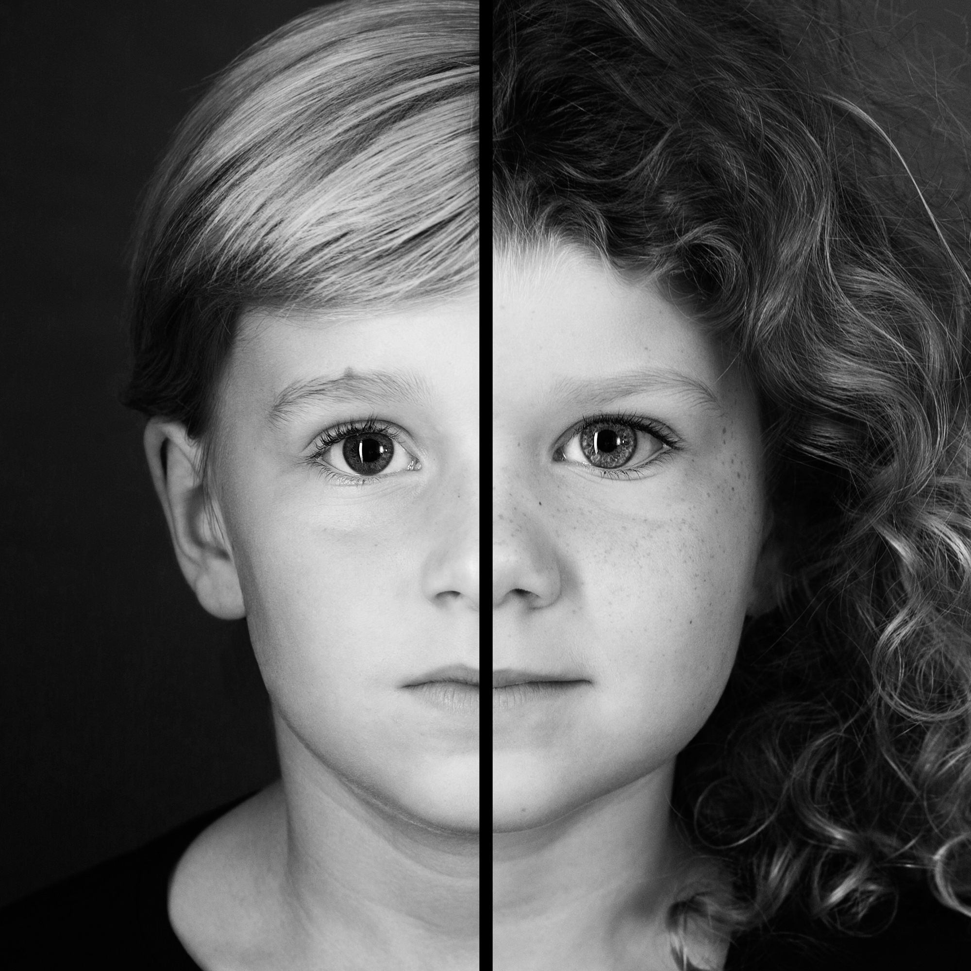 zwart-wit familie portret